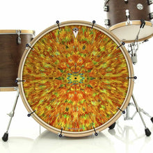 Extruded Groove bass face drum banner installed on bass drum; abstract drum art