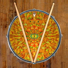 Extruded Groove graphic drum head on snare drum by Visionary Drum; psychedelic drum art