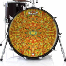 Extruded Groove Design Remo-Made Graphic Drum Head on Bass Drum; colorful pattern drum art