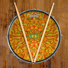 Extruded Groove Design Remo-Made Graphic Drum Head on Snare Drum; radial pattern drum art
