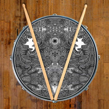 Eye Maker 2 design graphic drum skin on snare drum by Visionary Drum; abstract drum art