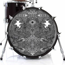 Eye Maker 2 Design Remo-Made Graphic Drum Head on Bass Drum; abstract pattern drum art