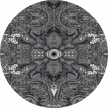 Eye Maker design graphic drum skin by Visionary Drum; original black and white ink art from Justin Potts