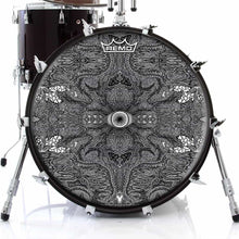 Eye Maker Design Remo-Made Graphic Drum Head on Bass Drum; black ink drum art