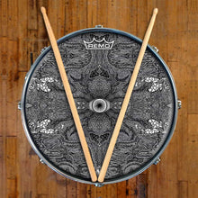 Eye Maker Design Remo-Made Graphic Drum Head on Snare Drum; black and white pattern drum art