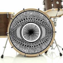 Eye bass face drum banner installed on bass drum; third eye drum art