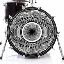 Eye design graphic drum skin on bass drum by Visionary Drum; black and white drum art