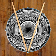 Eye design graphic drum skin on snare drum by Visionary Drum; abstract drum art