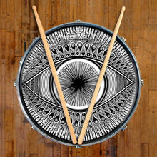 Eye Design Remo-Made Graphic Drum Head on Snare Drum; visionary drum art