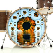 Eyeball design visionary drum bass face banner on bass drum