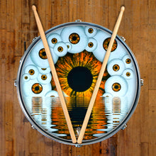 Eyeball design visionary drum skin on snare drum