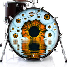 Eyeball design visionary drum remo made drum head on bass drum