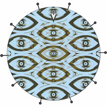 Eye Tribe bass face drum banner by Visionary Drum; blue pattern drum art