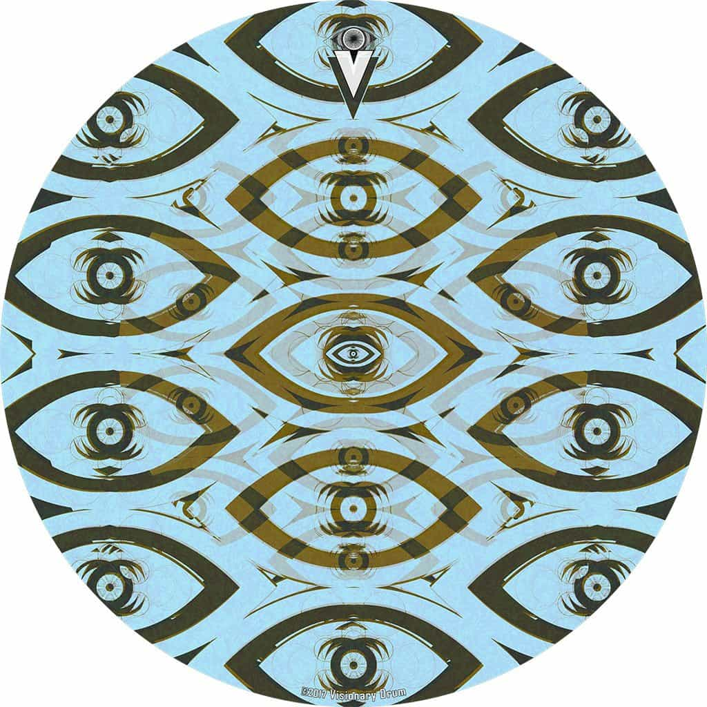 Eye Tribe design graphic drum skin by Visionary Drum; eye pattern drum art