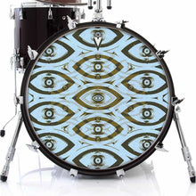Eye Tribe design graphic drum skin on bass drum by Visionary Drum; blue drum art