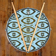 Eye Tribe design graphic drum skin on snare drum; visionary drum art
