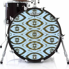 Eye Tribe Design Remo-Made Graphic Drum Head on Bass Drum; visionary drum art