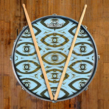 Eye Tribe Design Remo-Made Graphic Drum Head on Snare Drum; abstract drum art