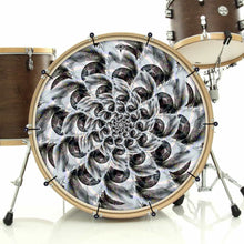 Eye Tunnel bass face drum banner on bass drum; psychedelic drum art