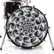 Eye Tunnel design graphic drum skin on bass drum; visionary drum art