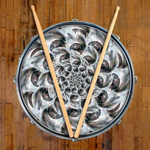 Eye Tunnel design graphic drum skin on snare drum by Visionary Drum; abstract drum art