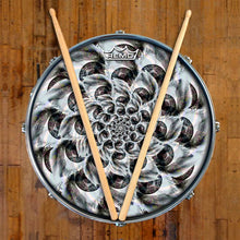 Eye Tunnel Design Remo-Made Graphic Drum Head on Snare Drum; visionary drum art