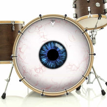 Eyeball bass face drum banner installed on drum kit; visionary drum art