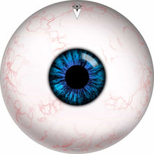 Eyeball design graphic drum skin by Visionary Drum; slightly bloodshot eye drum art