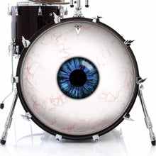 Eyeball design graphic drum skin on bass drum by Visionary Drum; eye drum art