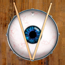 Eyeball design graphic drum skin on snare drum by Visionary Drum; blue eye drum art