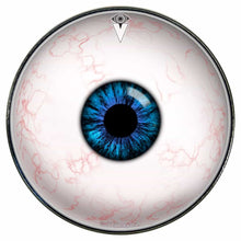 Eyeball graphic drum skin installed on bass drum head by Visionary Drum; bloodshot eye drum art