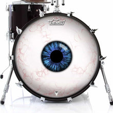 Eyeball Design Remo-Made Graphic Drum Head on Bass Drum; visionary drum art