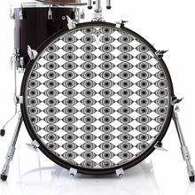 Eyes Everywhere design graphic drum skin on bass drum; visionary drum art