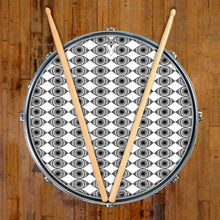Eyes Everywhere design graphic drum skin on snare drum; abstract pattern drum art