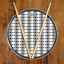 Eyes Everywhere Design Remo-Made Graphic Drum Head on Snare Drum; eye pattern drum art