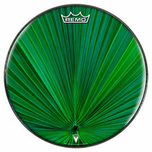 Fan Leaf Design Remo-Made Graphic Drum Head by Visionary Drum; plant themed drum art