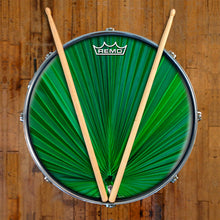 Fan Leaf Design Remo-Made Graphic Drum Head on Snare Drum; nature pattern drum art