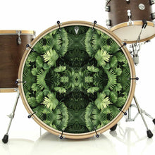 Fern Form bass face drum banner installed on bass drum by Visionary Drum; psychedelic drum art