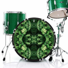 Fern Form bass face drum banner installed on green drum kit; visionary drum art