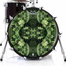 Fern Form Design Remo-Made Graphic Drum Head on Bass Drum; abstract nature drum art