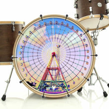 Ferris Wheel bass face drum banner by Visionary Drum; sky drum art