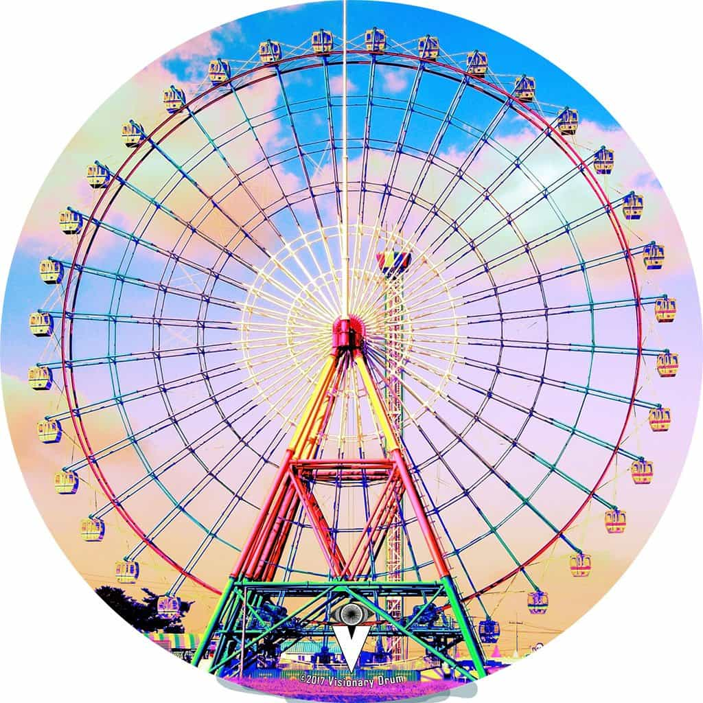 Ferris Wheel design graphic drum skin by Visionary Drum; carnival drum art