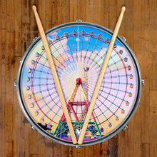 Ferris Wheel design graphic drum skin on snare drum by Visionary Drum; sky drum art
