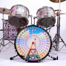 Ferris Wheel graphic drum skin installed on bass drum head; vintage drum art