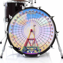 Ferris Wheel Design Remo-Made Graphic Drum Head on Bass Drum; festival drum art