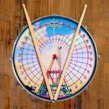 Ferris Wheel Design Remo-Made Graphic Drum Head on Snare Drum; carnival drum art