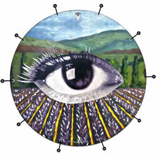 Field of Vision bass face drum banner by Visionary Drum; landscape drum art