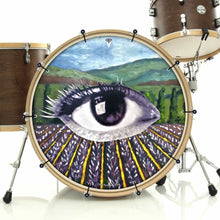 Field of Vision bass face drum banner installed on bass drum by Visionary Drum; earth drum art