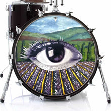 Field of Vision design graphic drum skin on bass drum; visionary drum art