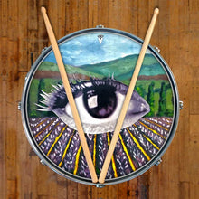 Field of Vision design graphic drum skin on snare drum by Visionary Drum; pastoral drum art